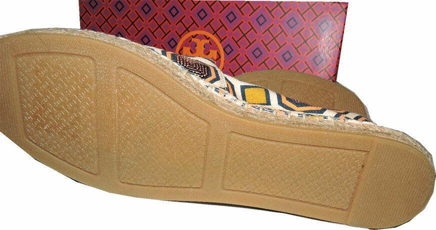 Tory Burch Cecily Octagon Sequin Espadrilles Canvas Flat  Loafers Shoes 8.5