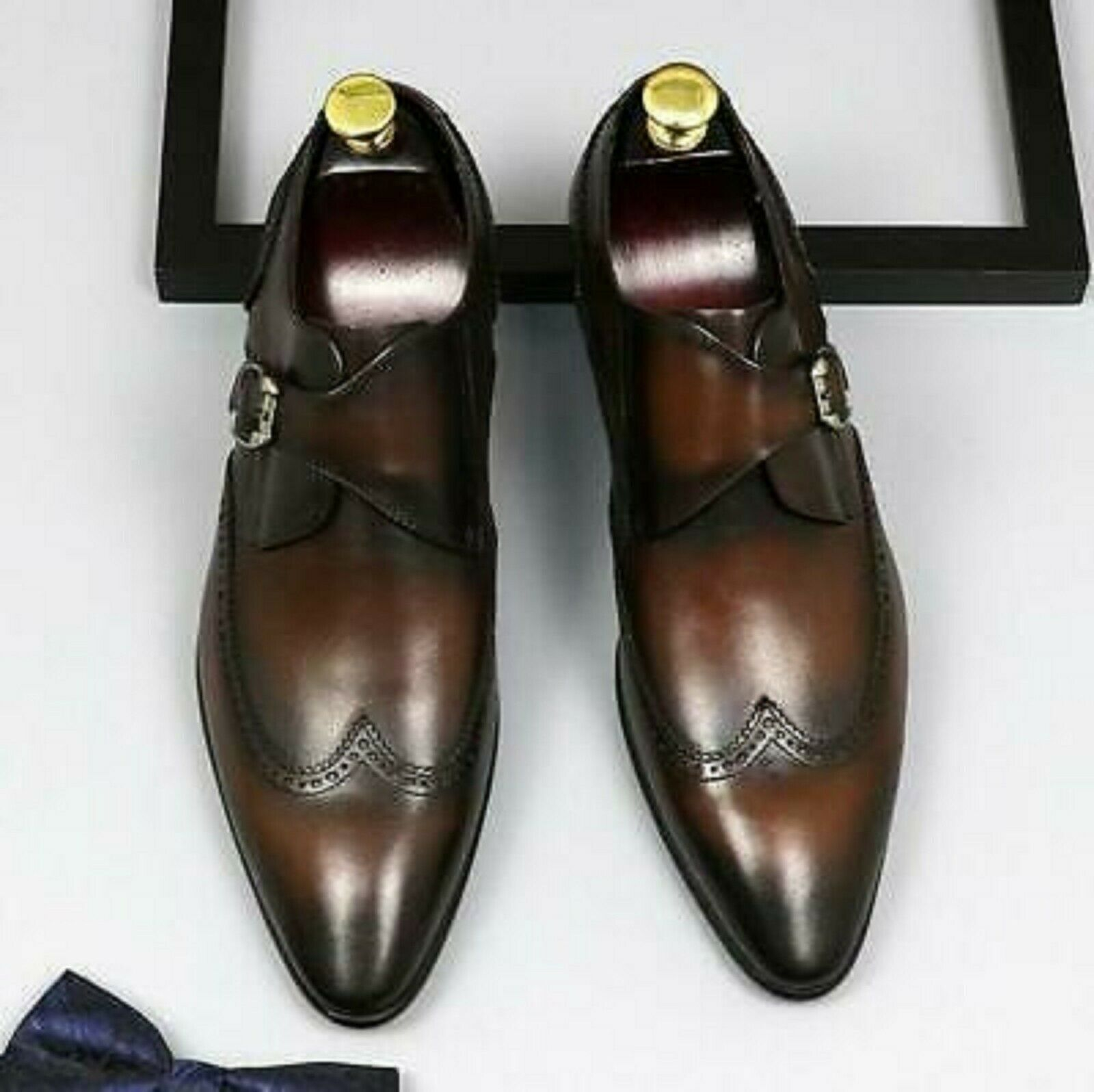 Handmade Men Brown Leather Wing Tip Monk Strap Dress/Formal Shoes