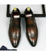 Handmade Men Brown Leather Wing Tip Monk Strap Dress/Formal Shoes - $139.99+