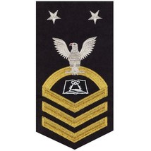 NAVY E9 MALE RATING BADGE: CULINARY SPECIALIST(CS) - SEAWORTHY GOLD ON BLUE - $36.61