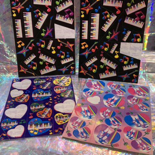 90s Lisa Frank Incomplete Sticker Sheet Pianos Ballet Shoes Hearts Guitars Muaix