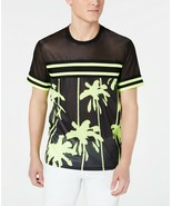 INC Mens Pieced Stripe Mesh Deep Black TShirt Size L - £17.35 GBP