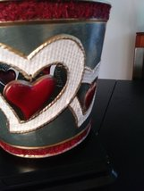 Tin Planter Holder Hanging Red Hearts Made in Philippines Planter image 4