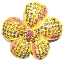 Flower Pin Brooch Pink Gold Lavender Crystal Multicolor Spring Summer Theme - $29.99