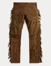 QASTAN Men's New Native American Buckskin Color Suede Leather Fringes Pants WP2 image 3