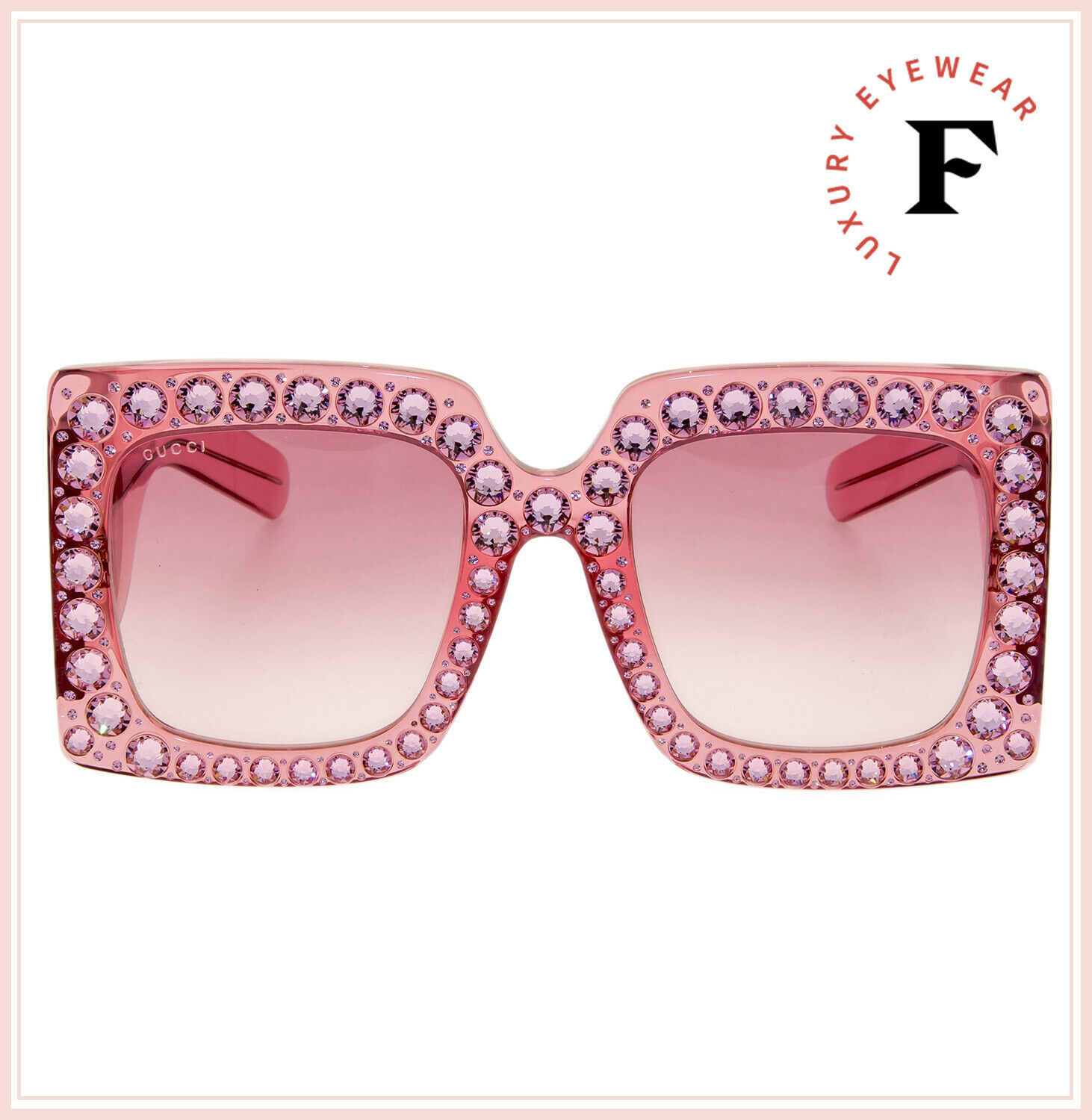 GUCCI HOLLYWOOD FOREVER 0145 Pink Crystal Stud Oversized Sunglasses GG0145