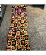 "Vintage Crochet Afghan Sofa Throw Flowers Pattern 77"" x 27"" - $19.79"