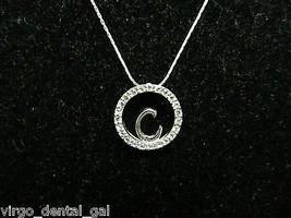 "VTG KR Signed Silver Tone CZ Cubic Zirconia ""C"" Choker Necklace - $9.90"