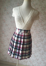 Red White Black Pleated Plaid Skirt School Style Short Pleated Plaid Skirts image 5