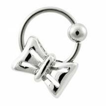 "Captive Lip Ear Daith Ring 16 Gauge 3/8"" w/Bow Dangle Charm Steel Body Jewelry - $7.99"