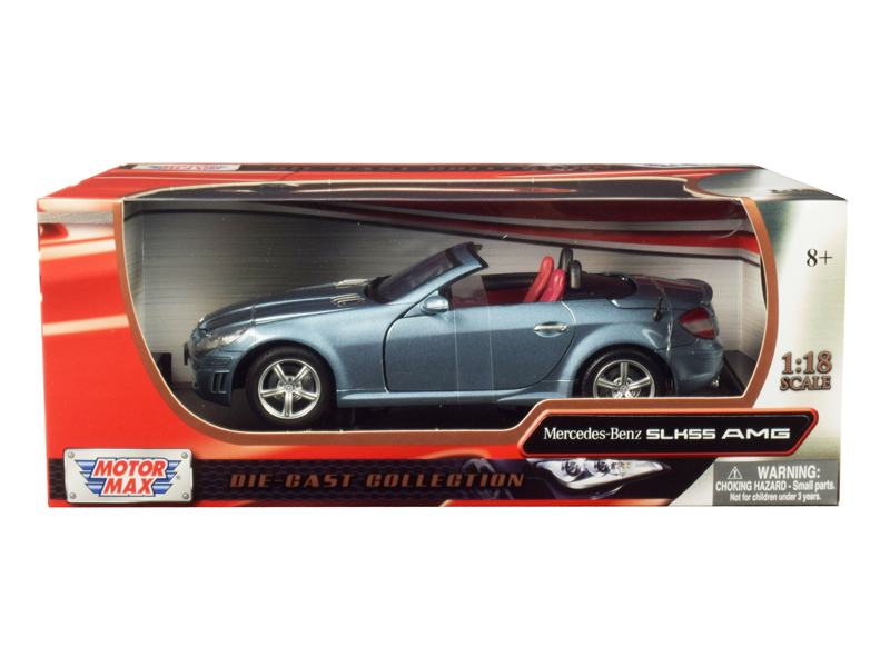 Mercedes Benz SLK 55 AMG with Retractable Roof Silver Blue 1/18 Diecast Model Ca
