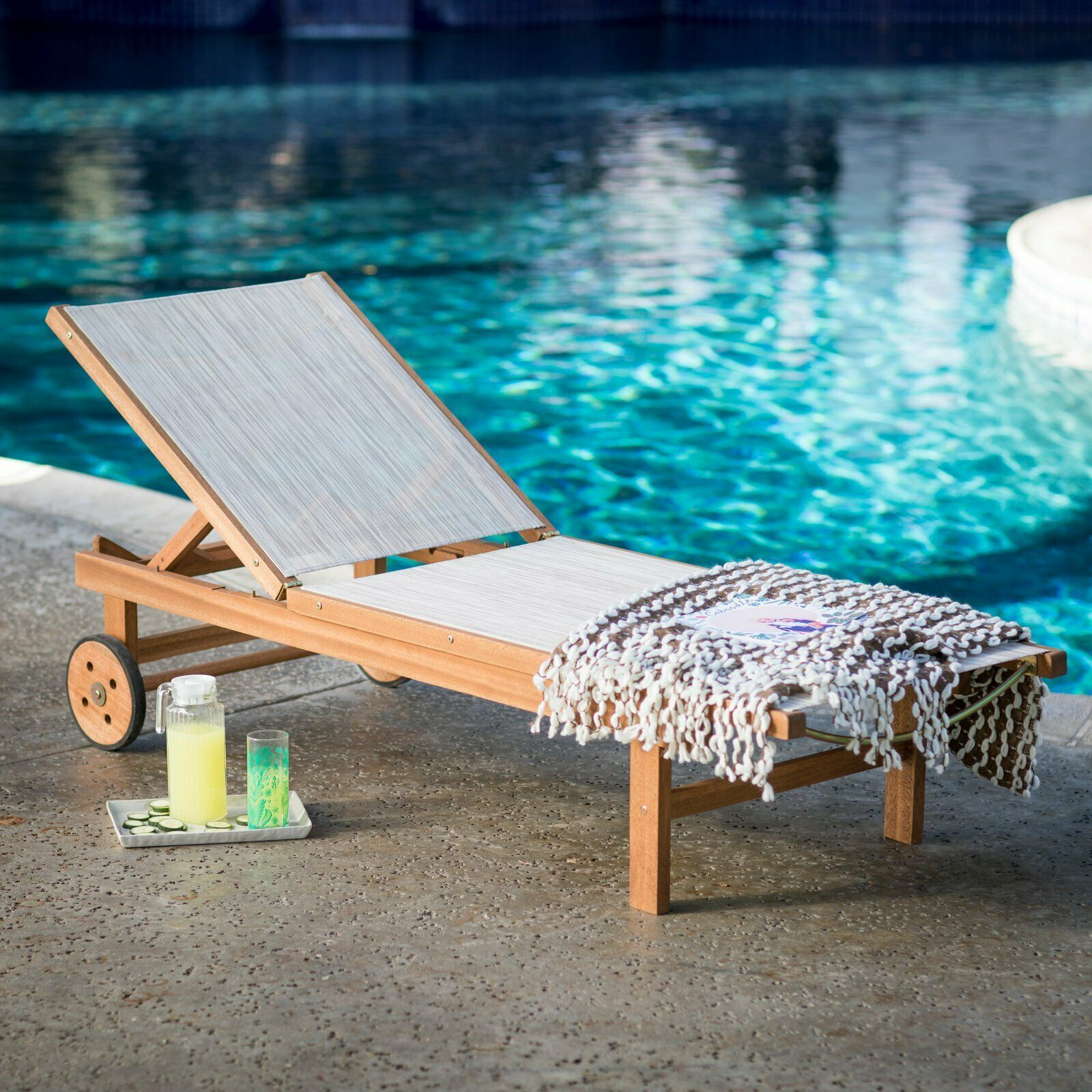 Natural Finish Eucalyptus Wood Sling Chaise Lounge Outdoor Pool Lounger w/Wheels