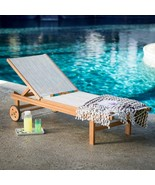 Natural Finish Eucalyptus Wood Sling Chaise Lounge Outdoor Pool Lounger ... - $299.46