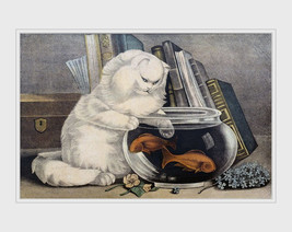 Fishing,  white cat with paw in fishbowl 1840s, antique art print, animal art, c - $11.99