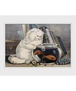 Fishing,  white cat with paw in fishbowl 1840s, antique art print, animal art, c - $11.99