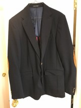 Black Tag by Zara Man Dark Blue Sport Jacket Blazer Brown Elbow Patch 44 - $46.74