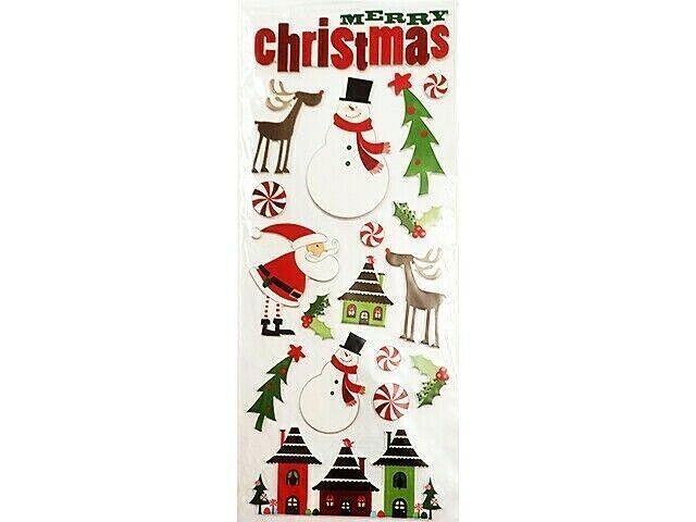 Puffy Christmas Holiday Sticker Set, Santa, Snowman, Reindeer & More