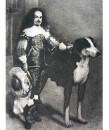 ORIGINAL ETCHING PRINT - Don Antonio Royal Dwarf & Huge Dog by VELASQUEZ - $29.70