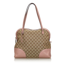 Pre-Loved Gucci Brown Beige Canvas Fabric GG Dome Shoulder Bag Italy - $791.82