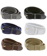 "7001 Men's Leather Covered Buckle Woven Elastic Stretch Belt 1-1/4"" Wide - $7.99"