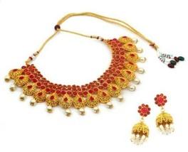 Indian Bollywood Gold Plated Kundan Pearl Choker Necklace Wedding Bridal... - $25.63