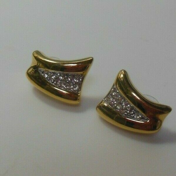 Signed Crown Trifari Gold Tone Clear Rhinestone Pierced Earrings