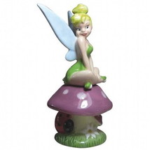 Disney's Tinkerbell on a Mushroom Ceramic Salt and Pepper Shakers Set NEW UNUSED - $25.15