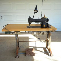 Singer 241-12 Industrial/Commercial Sewing Machine Table Mount Cleaned W... - $373.99