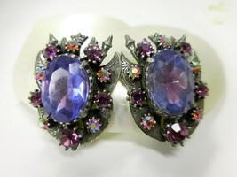 Large Florenza Vintage Heraldic Purple Blue & Red Aurora Clipback Earrings - $18.95