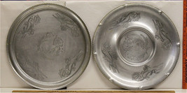 Vintage Aluminum Serving Trays Hand Wrought Design Hors d'Oeuvres Dinner... - $32.49