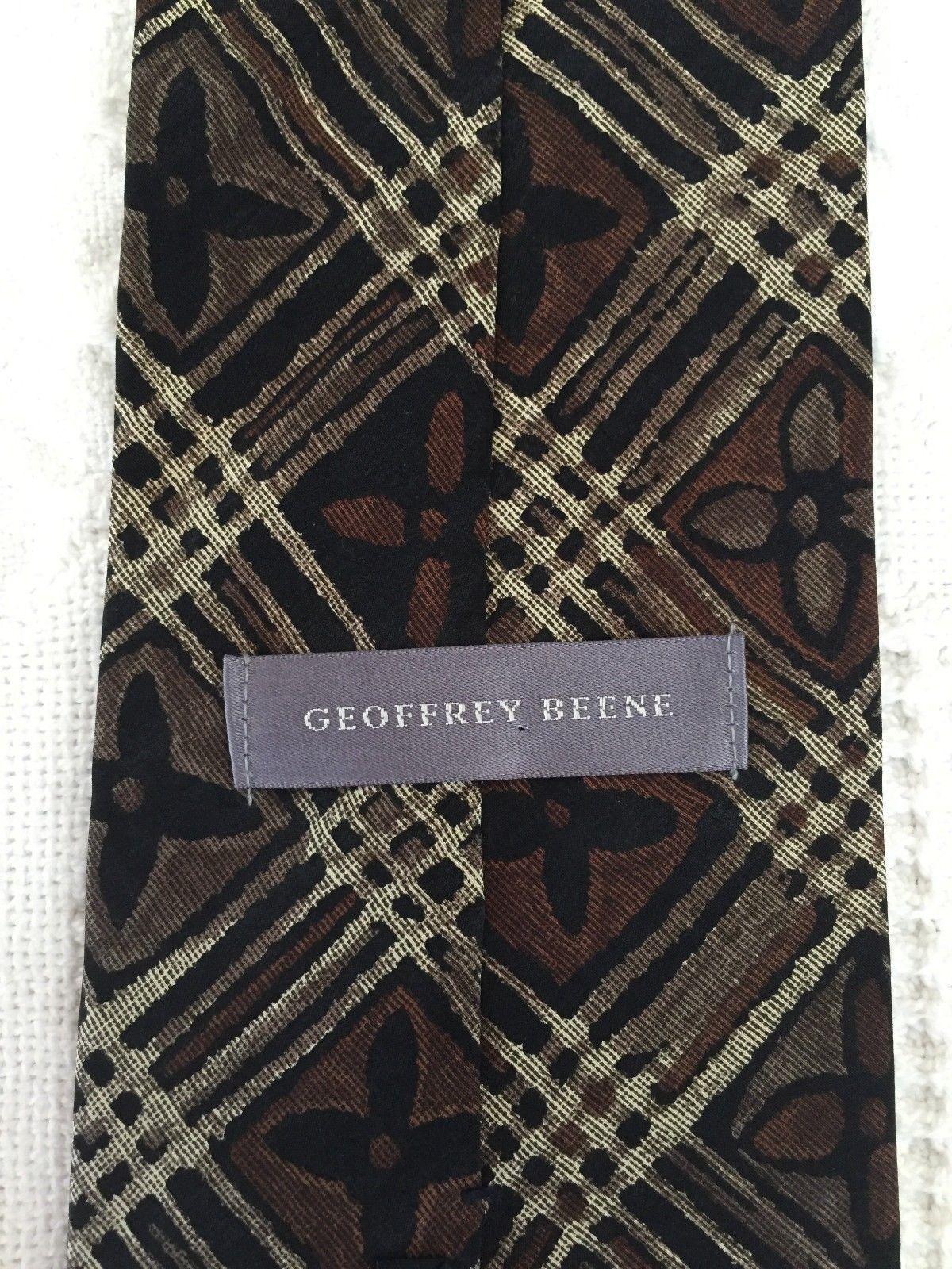 """GEOFFREY BEENE Mens Brown Taupe FLORAL Plaid Necktie Tie 100% Silk 57"""" x 3.75"""" image 4"""