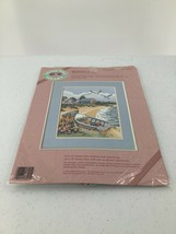 From The Heart Seagull Bay Stamped Cross Kit White Sailcloth 1989  #5302... - $14.01