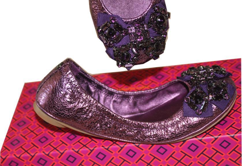 ef6d1d58ea10 2163. 2163. Previous. Tory Burch Azalea Crystal Bow Ballerina Flats  Metallic Purple Leather ...