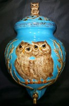 Vintage 70s Ceramic Owl Wall Hanging Turquoise 3D Figural - $24.99