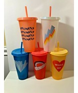 NEW STARBUCKS⚡ SUMMER 2 RETRO NEON COLORED REUSABLE COLD CUPS 2020 (5) PACK - $34.65