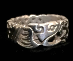 Vintage Celtic Irish Knot Dragon Sterling Silver Band Ring Size 8.25 - $48.00