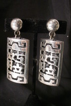 Vintage Napier LARGE Asian Ethnic Oriental Letters Silverplate Clip on Earrings image 2