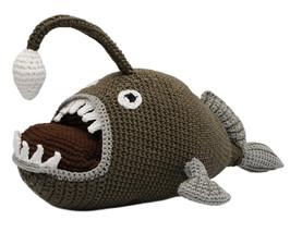 Beige-Green Angler Fish Handmade Amigurumi Stuffed Toy Knit Crochet Doll... - $32.67