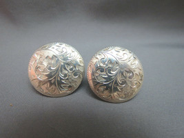 Sterling Silver Earrings Round Etched Leaves 8.8g Vintage Marked Nice Sc... - $19.79