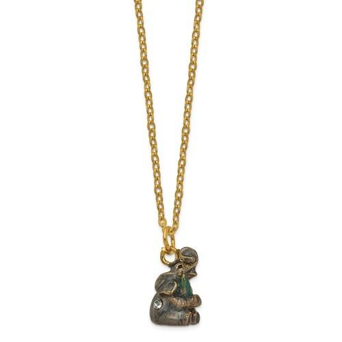 Bejeweled Crystal Enameled Elephant with Christmas Tree Trinket Box