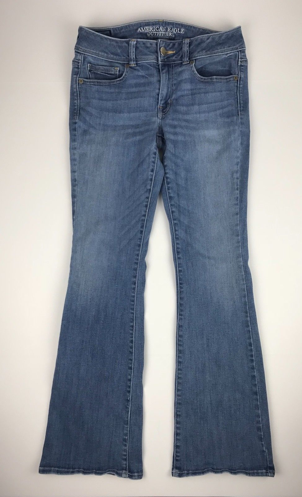 American Eagle Outfitters Super Stretch Kick Boot Denim Blue Jeans Women's 8R image 4