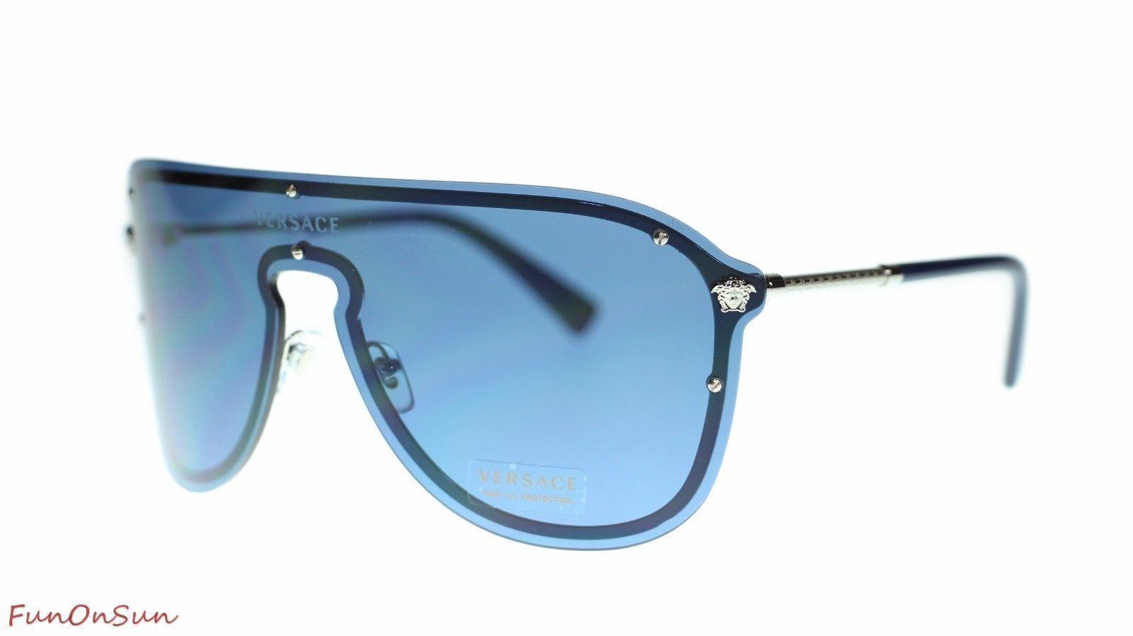 34fadf0463 Versace Pilot Women Sunglasses VE2180 100080 Silver Blue Authentic 44mm