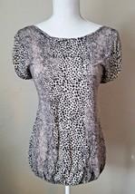 TALBOTS WOmens Animal Print Knit Blouse Top Ruching Size M - $15.99