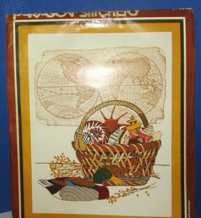 Primary image for 1982 paragon stitchery CREWEL EMBROIDERY KIT 0942 Sea treasures map NEW no pkg
