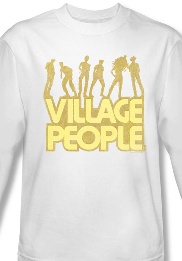 The village people distressed long sleeve 70 s disco for sale online white graphic tee vp102 al