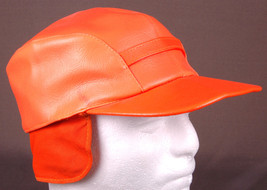 Vtg Leather Hunting Hat-Hunter Orange-Size 7-Quilted Line-Ear Flap-USA-Japan - $46.74