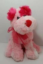 Commonwealth Plush dark light Pink White tie-dye puppy dog red nose ribbon bow - $17.81