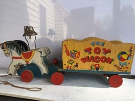 1942 Fisher Price #171 The Toy Wagon - Two Matched Ponies / Horses Pull ... - $116.86