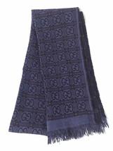 Gucci Scarf Purple Black Reversible Double Layered GG Print Wool Scarf 175x33 cm - $94.05