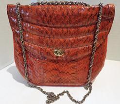 1960s Vintage Orange Snakeskin Convertible Hand Bag Shoulder Bag - $32.00